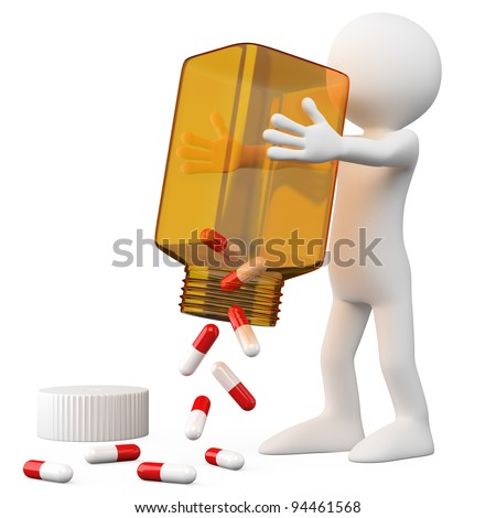 3D Doctor emptying a bottle of pills. Rendered at high resolution on a white background with diffuse shadows.
