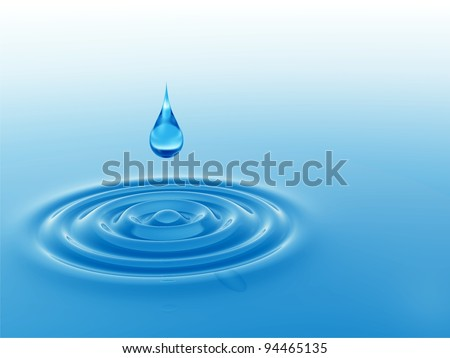 High resolution concept or conceptual blue liquid drop falling in water with ripples and waves, ideal for nature,natural,summer,spa,cool,business,environment or health design #94465135