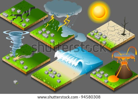 Isometric Building Natural Disaster on Tiles. Tornado. Tzunami. Inundation. Drought. Earthquake Illustration
