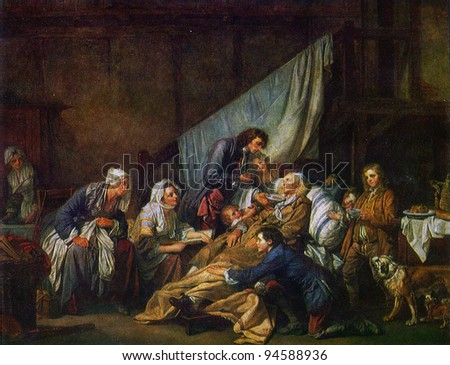 USSR  - CIRCA 1981: Postcard shows draw by Jean-Baptiste Greuze - Paralytic Tended by His Children, The Hermitage, St Peterburg circa 1981 #94588936