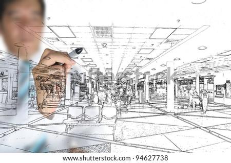 Hand of business man draw visual interior design