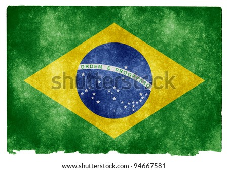 Grungy Brazilian Flag on Vintage Paper #94667581