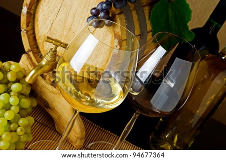 Wine stillife on the table.