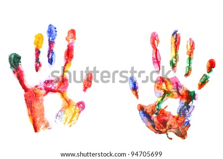 Color hand prints isolated on white #94705699