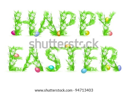 Raster version. Greeting Card. Happy Easter. Illustration on white background