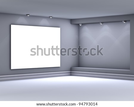 3d empty niche with spotlights for exhibit in the grey interior #94793014
