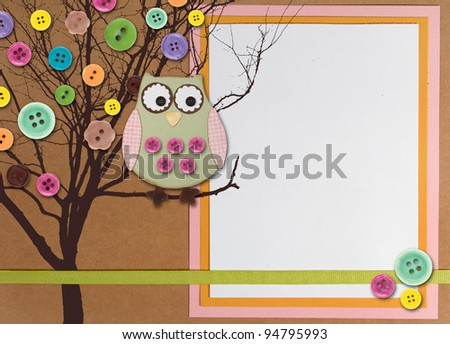 Spring time tree with owl and buttons on paper background with white copy space.