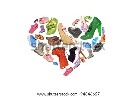 collection of different shoes in the form of heart #94846657
