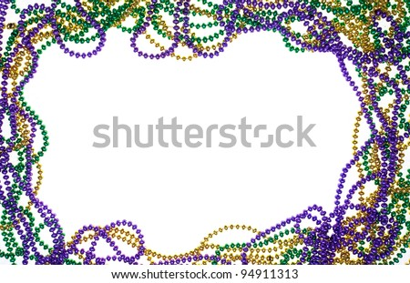 A  frame of three colours of beads