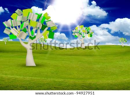 tree books with blue sky.