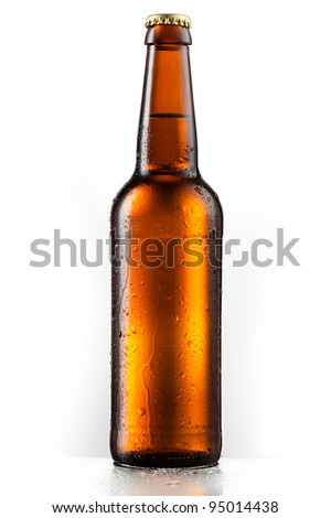 Bottle of beer with drops isolated on white background Royalty-Free Stock Photo #95014438