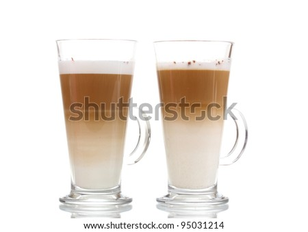 Fragrant ?offee latte in glass cups isolated on white #95031214
