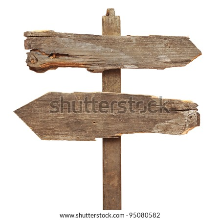 old wooden arrows road sign isolated on white