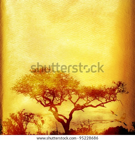 Textured grunge african paper background with tree and copy space.