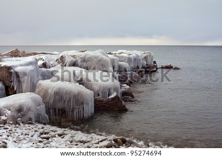 Ice Covered Boulders on Lake Ontario #95274694