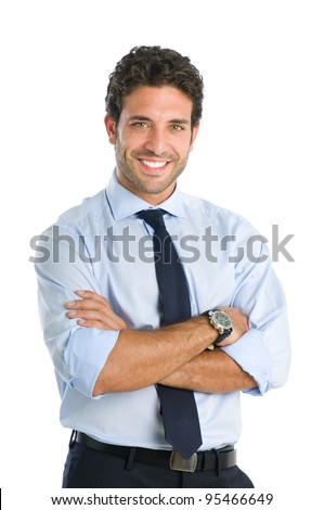 Friendly and smiling businessman looking at camera with reliability isolated on white background #95466649