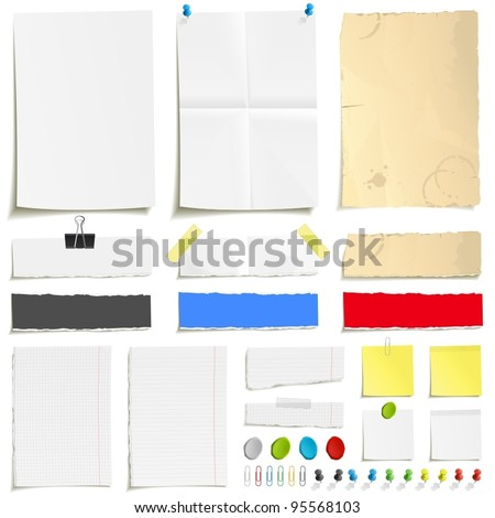 White folded paper, grungy old paper, ragged sheets of paper, blank squared and lined notepad pages and elements for attaching paper: pin, plasticine, scotch tape and paperclip set Royalty-Free Stock Photo #95568103