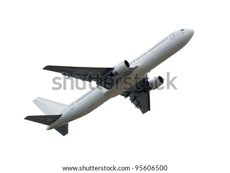 flying up passenger airplane isolated over white background