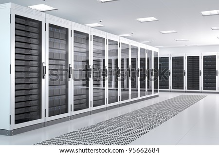 White Server Room Network/communications server cluster in a server room. CG Image. Royalty-Free Stock Photo #95662684