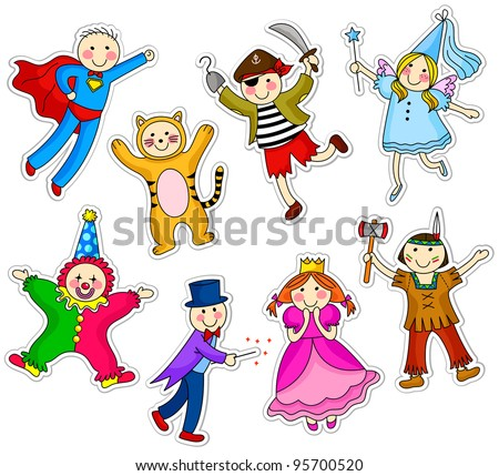 kids with different costumes
