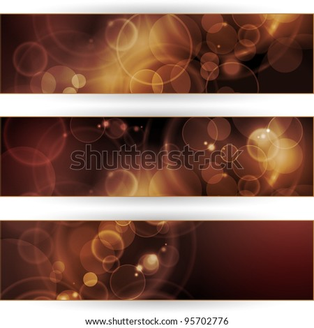 Header, banner set. Overlying semitransparent circular shapes forming a bokeh background with space for your text. Can be used on websites or flyers. Vector available in my port.