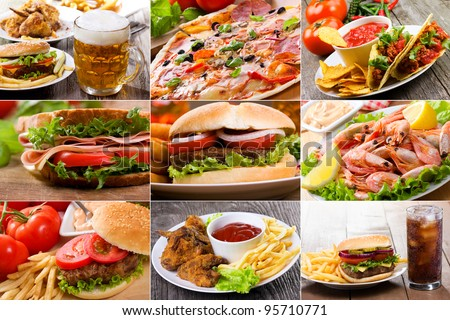 collage of fast food products Royalty-Free Stock Photo #95710771