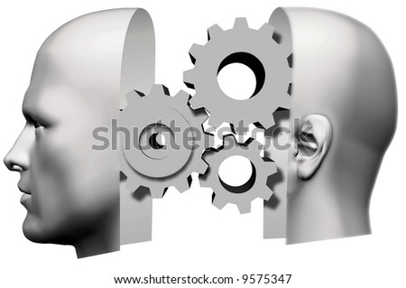 A male human head, face front and back of head, with machine gears thinking inside.