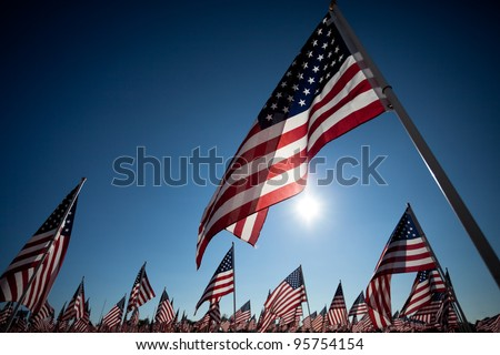 Large group of American Flags commemorating a national holiday, veterans day, independence day, 9/11, etc