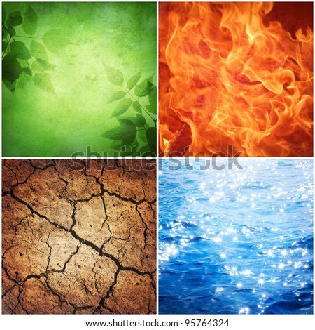 composition of the four natural elements ( grunge background) Royalty-Free Stock Photo #95764324