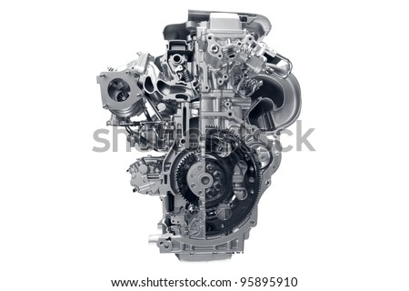 Car engine. Concept of modern car engine isolated on white background. Royalty-Free Stock Photo #95895910