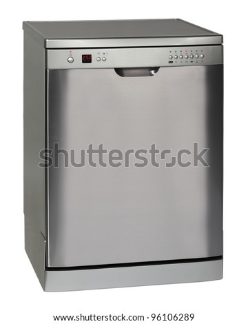 Modern freestanding dishwasher isolated on white #96106289