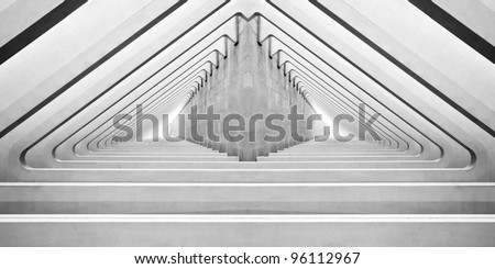 Modern concrete interior with arches in perspective