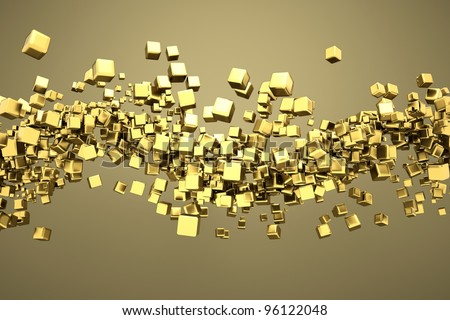 a gold cubes abstract background