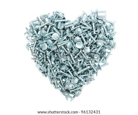 The heart of the metal screws on a white background. Chrome isolated heart. Symbol of love to technical progress. #96132431
