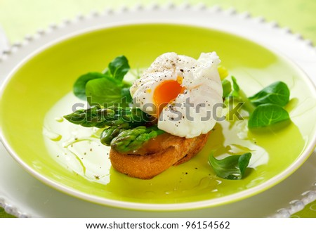 Poached egg and green asparagus on toast #96154562