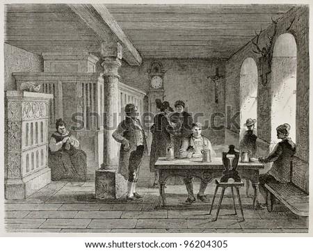 Black Forest hotel interior old illustration, Germany. Created by Stroobant, published on Le Tour Du Monde, Paris, 1867