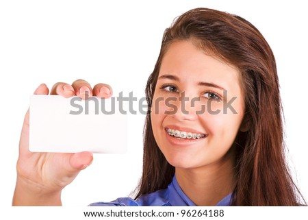 Girl with braces presenting business card