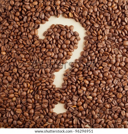 A question-mark symbol made from coffee crops on handmade paper #96296951