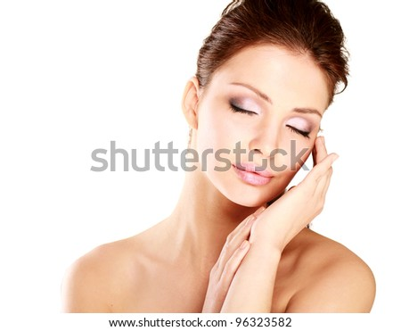 Happy woman touching her face isolated on white background #96323582