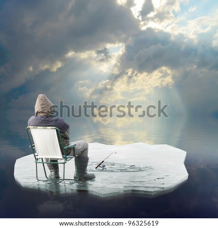 Funny picture of a ice fisherman floating on iceberg. Springtime metaphor.