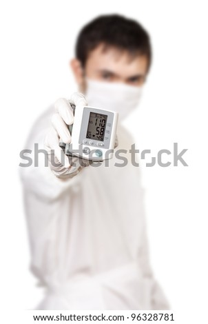 A doctor with an instrument for measuring pressure #96328781
