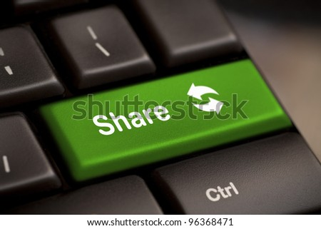 computer concepts, green share button key