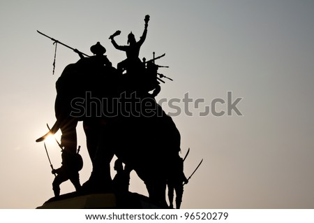 silhouette Memorial of Military war elephants in the past of Thailand #96520279