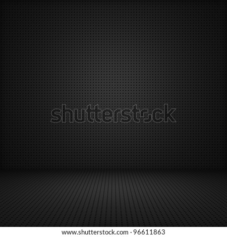 Black interior background of circle mesh pattern texture