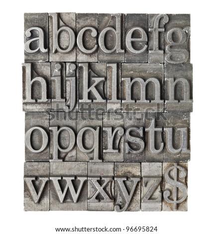 English alphabet (lowercase) and dollar sign in vintage grunge letterpress metal type
