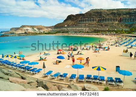 View over Amadores beach on Gran Canaria, Spain Royalty-Free Stock Photo #96732481