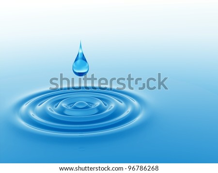 High resolution concept or conceptual blue liquid drop falling in water with ripples and waves #96786268