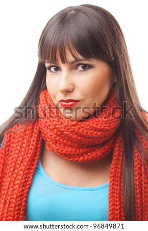 brunette girl with scarf #96849871