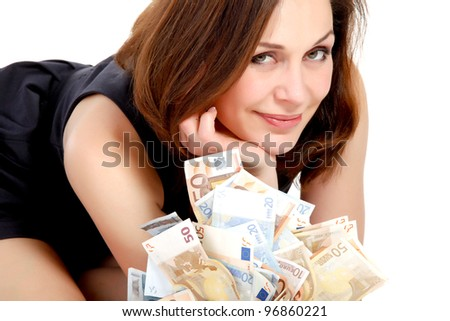 woman with lots of money #96860221