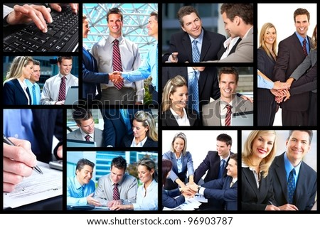 Business people team working in the office. Collage background. #96903787